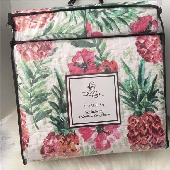 Panama Jack Bedding King Pineapple Quilt Shams Hibiscus Comforter